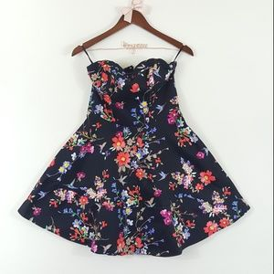 Express Floral Bird Print Strapless Flare Dress 8